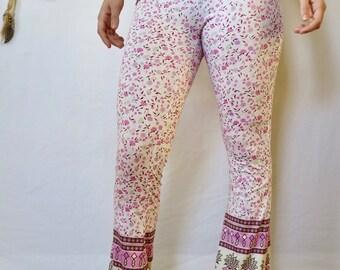 Foldover Waist Printed Floral Print Flare Bell Bottom Bloomer Leggings Lounge Yoga Hooper Fetsival Pants Size Small