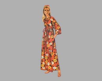 1969 Robe pattern Simplicity 8551 Sz 12 - 14 Bust 34 - 36 in Empire waist Kimono sleeves Front zipper Jiffy Easy cut Easy sew Complete