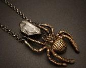 Hunting Spider Necklace, Bronze and Tibetan Quartz, Made in Austin,Tx by Jamie Spinello