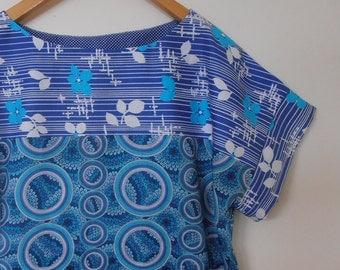 got the blues...vintage fabric loose fit blouse