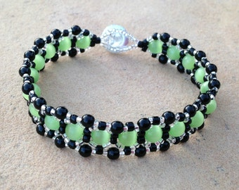 Bracelet - Lime Green, Black, and Silver - Metal Free