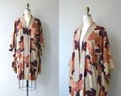 Shiso silk wrapper | 1920s silk floral kimono | floral silk 20s kimono robe