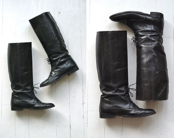 Laced Rider boots | vintage black riding boots | tall black leather boots 6.5