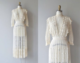 Celia Mae dress | antique 1910s silk lace dress | Edwardian embroidered net wedding dress