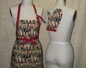 Apron Wine cellar chef adjustable fully lined top stitched cotton matching oven mitt wine bottles wine tasting red green brown beige purple