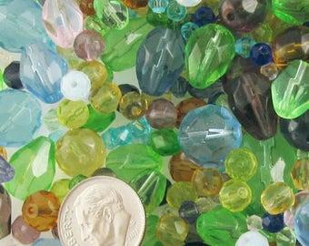 1/2 LB Mixed Color Glass Bead Mix Lot-FACETED SET 4-14mm (350+)
