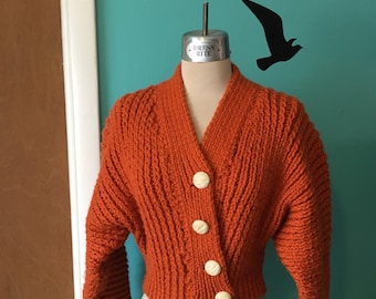 Pumpkin Spice - Hand Knitted 1950's Pumpkin Orange BATWING Cropped Cardigan