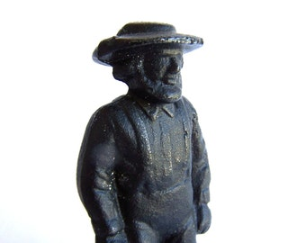 Vintage dated 1979 Cast Iron Unpainted Amish Man Walking Figurine Collectible Metal , fine detail Wilton Collectible