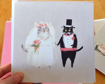 Cat Wedding Card - Wedding Card - Wedding Cats - Large Square Card - Congrats