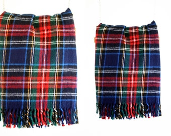 Super Soft Blue and Red Vintage Plaid Wool Fringe Lightweight Classic Style Blanket