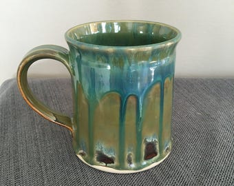 Drippy Ceramic Coffee Mug, Pottery Tea Cup, Blue Green Brown Mug, Gift for Him, Ceramic Cup