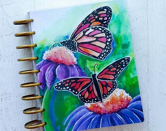 Butterfly Disc Bound Planner Cover - Happy Planner Compatible Cover - Personal Day Planner Cover - Laminated Planner Cover - Floral Planner