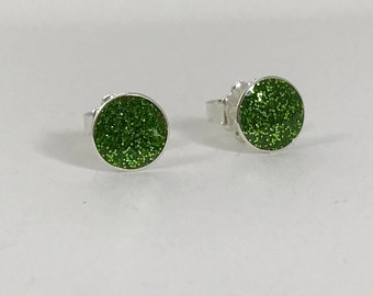 Sterling silver bauble stud earrings with pesto green resin