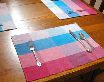 Hand Woven Placemats Woven Burgundy, Blue and Grey Placemats 2 Plaid Placemats 2 Woven Placemats Woven Plaid Table Mats Woven Table Scarf