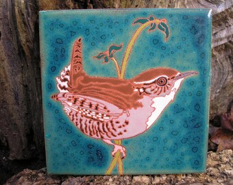 Winter Wren CUSTOM ORDER - 4-6 wks production time- bird tile, arts and crafts, birder, west coast birds, California, Oregon