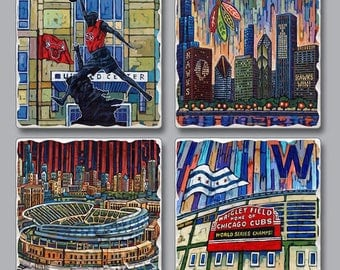 Chicago Man Cave, Chicago Sports Coasters, Chicago Sports teams, Chicago Bulls, Chicago Bears, Chicago Blackhawks, Chicago Cubs