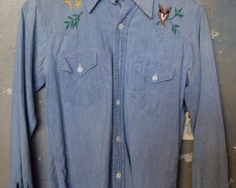 Vintage Owl Embroidered Chambray shirt