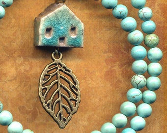 Turquoise Necklace with Tiny Porcelain House Pendant, Leaf Necklace, Magnesite Little Cottage Necklace, Dainty House Necklace by Annaart72