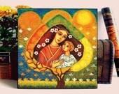 Motherhood painting, four seasons tree, folk art, tree of life, mother and child, home decor wall decor woman art, ACEO wood block, E