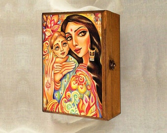 Mother and child art, mother box, motherhood art, mothers love, goddess painting, Indian woman art jewelry box, 7x10