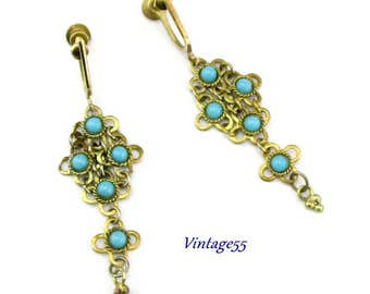 Earrings Ethnic Turquoise Glass screw back