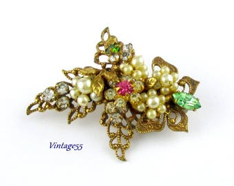 Brooch Filigree Floral Butterfly Haskell Style 1930