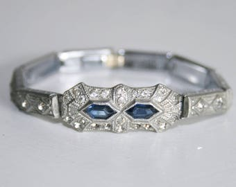 Art Deco Nov-E-Line Blue and Clear Paste Stone Bracelet