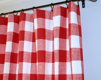 Red Buffalo Check Curtains, Pair of Rod Pocket Panels - Premier Prints Anderson Lipstick Red / White - Large Gingham , Choose Size