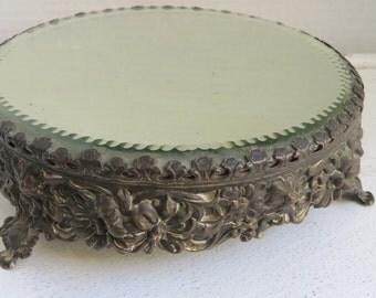 French Art Nouveau Victorian Floral Repousse Plateau Mirror
