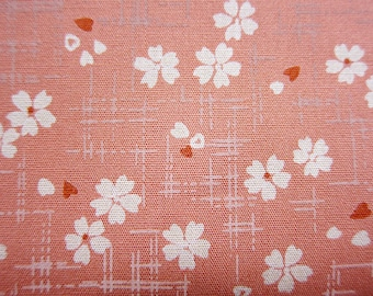 Cherry Blossom Fabric - Floral Print Fabric - Cotton Fabric - Cherry Blooms on Pink - Half Yard