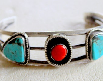 Native American Turquoise Coral Sterling Silver Cuff Bracelet Vintage 1960s 1970s Boho
