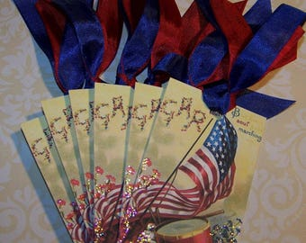 July 4th Tags Patriotic Tags Patriotic Decoration Vintage Style 4th of July Tags Americana Tags Set of 6 or 9