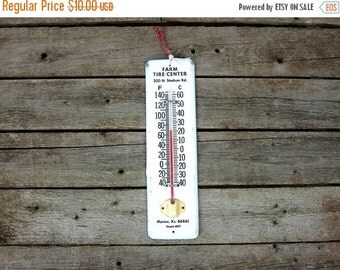 vintage Farm Tire Center thermometer Tin metal Marion Kansas thermostat Outdoor Temperature Gauge advertising wall hanging