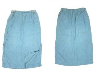 Vintage Blue LINEN Skirt Long Minimal Midi Skirt Modern Minimalist Plain Linen Midi Skirt Basic Minimal Skirt POCKETS Women's Medium Large