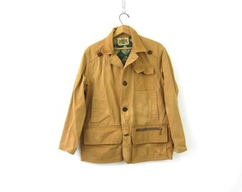 Mens vintage Hunting Coat Game Sportswear Canvas Coat Jacket Antique IDEAL Rugged Game Pocket Coat Men's Small Medium