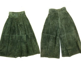 Vintage Green Suede Leather Palazzo Pants High Waist Maxi Skirt Culottes Leather Gaucho Pants Modern Leather Pants XS 26 Waist
