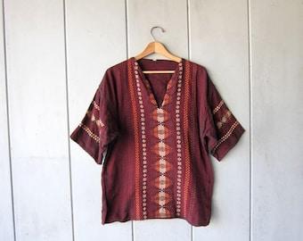 Cotton Dashiki Shirt Indian Ethnic Top Dark Red & Orange Tribal Embroidered Hand Stitched Textured Cotton Boho Tee  DES Mens Medium Large