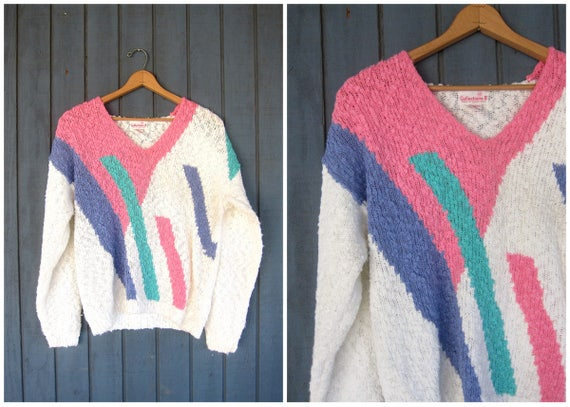 Nubby Knit Sweater 80s Slouchy Pink & White Vneck Pullover Oversized Abstract Textured Retro Jumper Womens Size XL