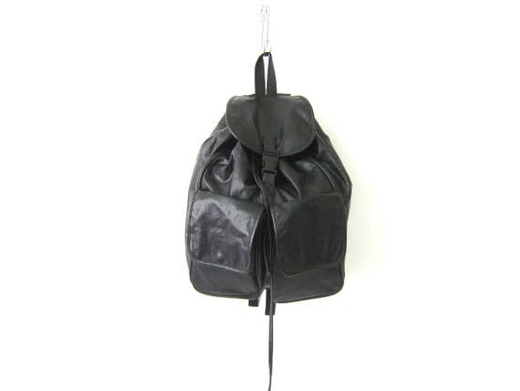 Large Black Backpack 90s Rucksack Faux Leather Hipster Revival 1990s School College Pack Slouchy drawstring Knapsack