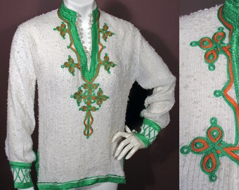 1970s Ethnic Style Braid Trimmed Blouse in White and Green Size S/M