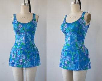 vintage 1960s swimsuit / 60s one piece bathing suit / 60s swim suit / 60s skirted bathing suit / 60s blue floral swimwear / medium