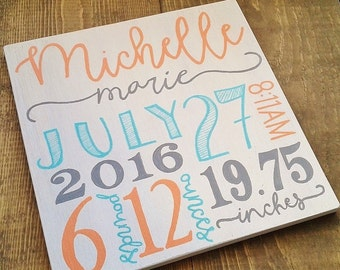Birth stats sign, Baby stats sign, Birth announcement sign, wood 10X10 inch sign, hand painted wood sign, baby gift, Custom baby stat sign