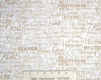 Religious Fabric - Faith God Christian Words Beige -Timeless Treasures YARD
