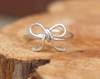 Forget me not ring, Ribbon, Sterling silver, Custom sized, Wire jewelry