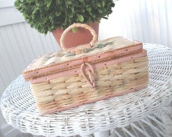 Vintage Sewing Basket * Shabby Cottage Pink * Sewing Notions * Child's Size Basket