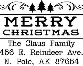 Merry Christmas Custom Return Address Stamp