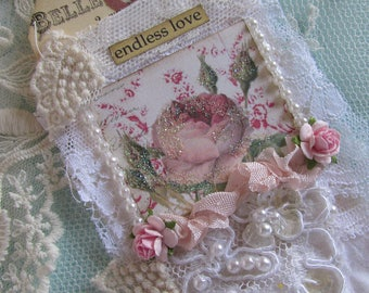 Rose Lace Tag, Mixed Media Art Tag, French Gift Tag