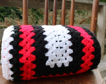 Red Black White Afghan Crochet blanket Lap blanket Couch throw Team Spirit Throw
