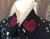 Alice in wonderland collar bib neckpiece gothic gypsy queen of hearts ruff necpiece gothic victorian