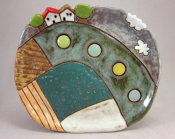 Summer Love...Small Oval Trinket Dish in Stoneware